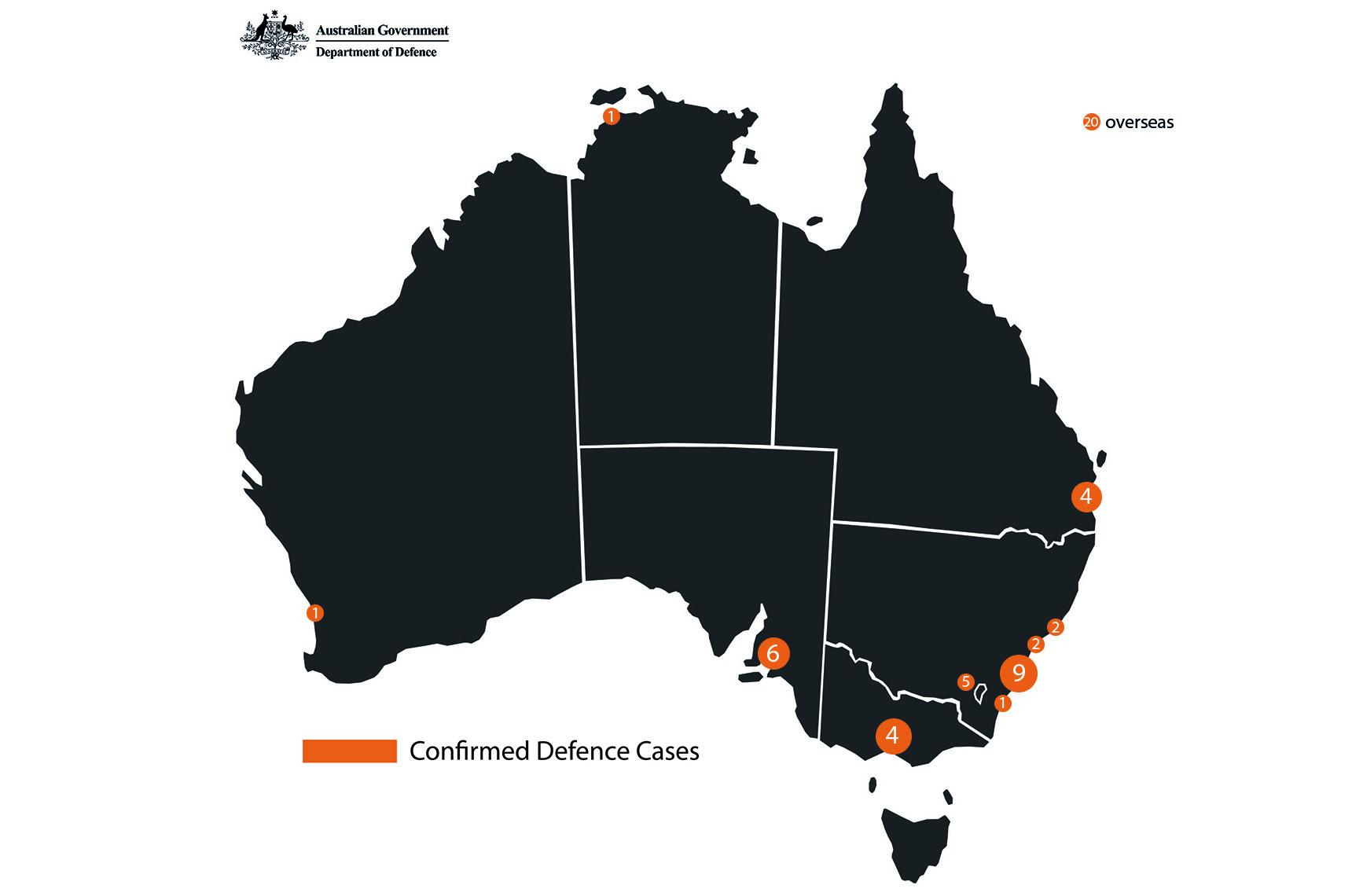 Defence is currently managing 55 cases of COVID-19 in the locations illustrated.