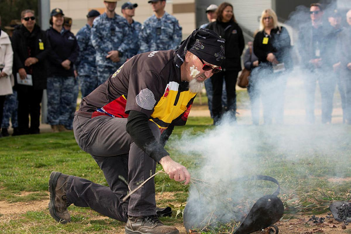 Air Force's No.1 Recruit Training Unit (1RTU) opened a second Yarning Circle to inspire Indigenous cultural awareness amongst staff and recruits at RAAF Base Wagga on 26 July. Photo: Sergeant Rodney Welch