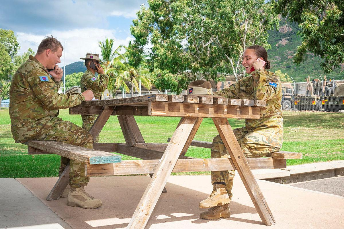 Soldiers from 3rd Combat Engineer Regiment, from left, Corporal Max Martin and Sappers Angad Madaan and Cassandra Selfe, conduct welfare checks as part of the unit's commitment to Legacy Australia. Photo: Private Madhur Chitnis