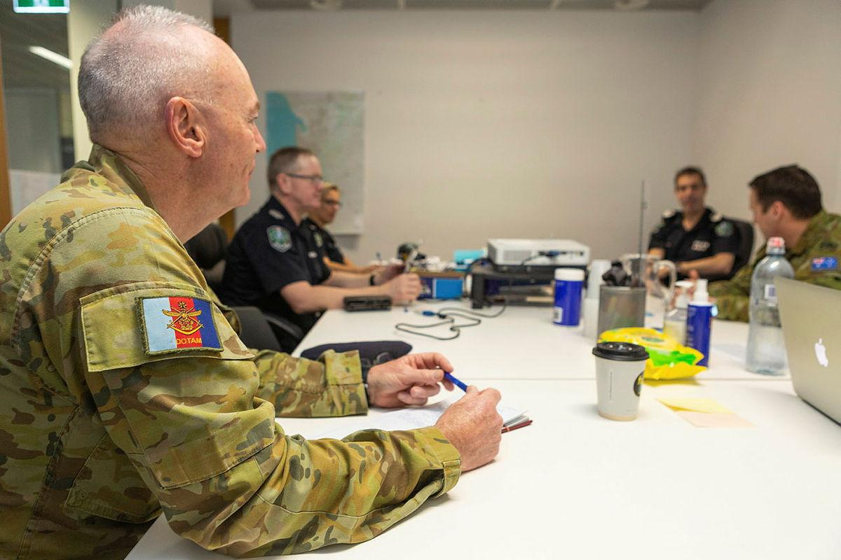 Major Richard Moyses, JOSS-SA Liaison , during a meeting between members of the South Australian Police and the Australian Army, as part of Operation COVID-19 Assist, Police Headquarters Angus Street, Adelaide. Photo credit: LACW Jacqueline Forrester