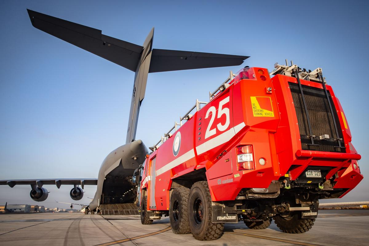The final Rosenbauer Panther Crash Tender is loaded onto a Royal Australian Air Force C-17A Globemaster III aircraft. Photo: Sergeant Ben Dempster
