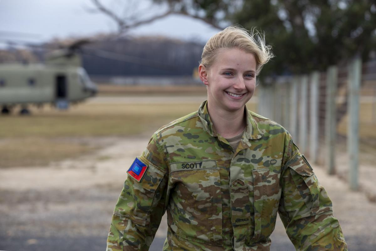 Private Brodie Scott  is thrilled to be able to help her community of Mallacoota after the devastating fires.