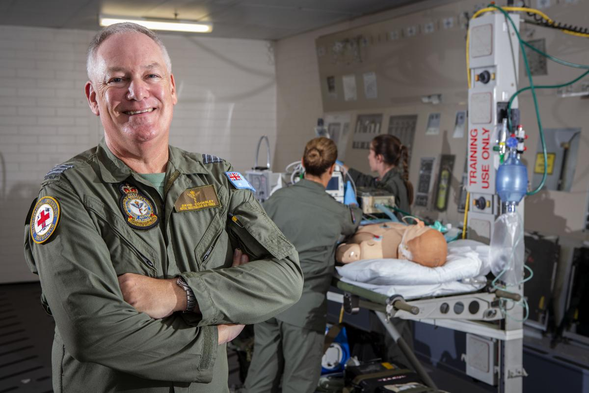 Air Force Specialist Reservist Medical Officer  Wing Commander David Cooksley in an aeromedical evacuation training room at RAAF Base Amberley. Photo: Corporal Jessica de Rouw