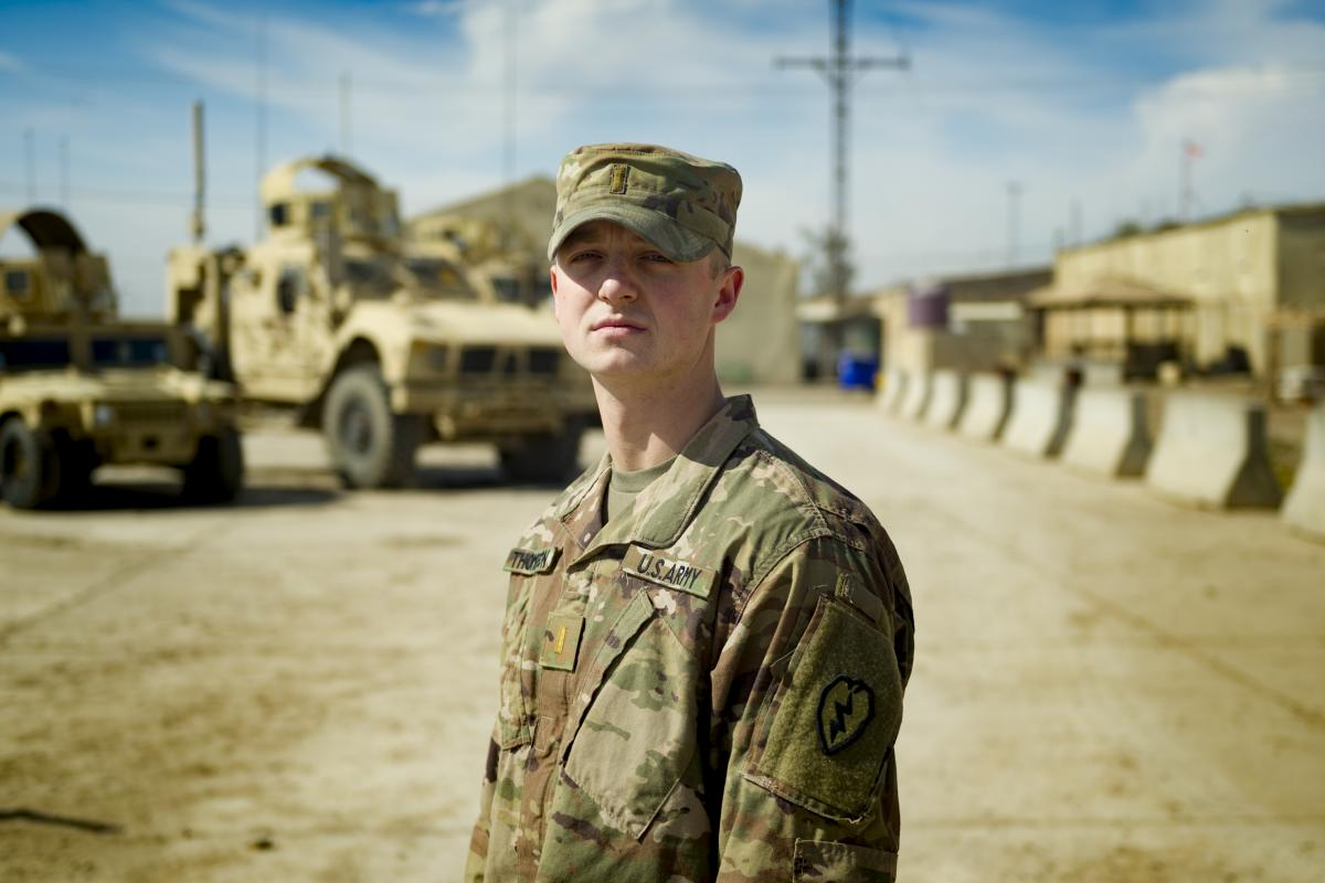 US Second Lieutenant William Thompson at Camp Taji, Iraq. Photo: Captain Roger Brennan