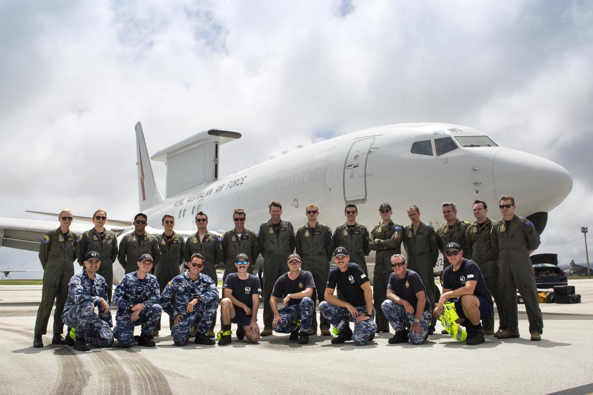 No. 2 Squadron personnel in front of an E7-A Wedgetail at Anderson Air Force Base during Exercise Cope North. Photo: Corporal David Said