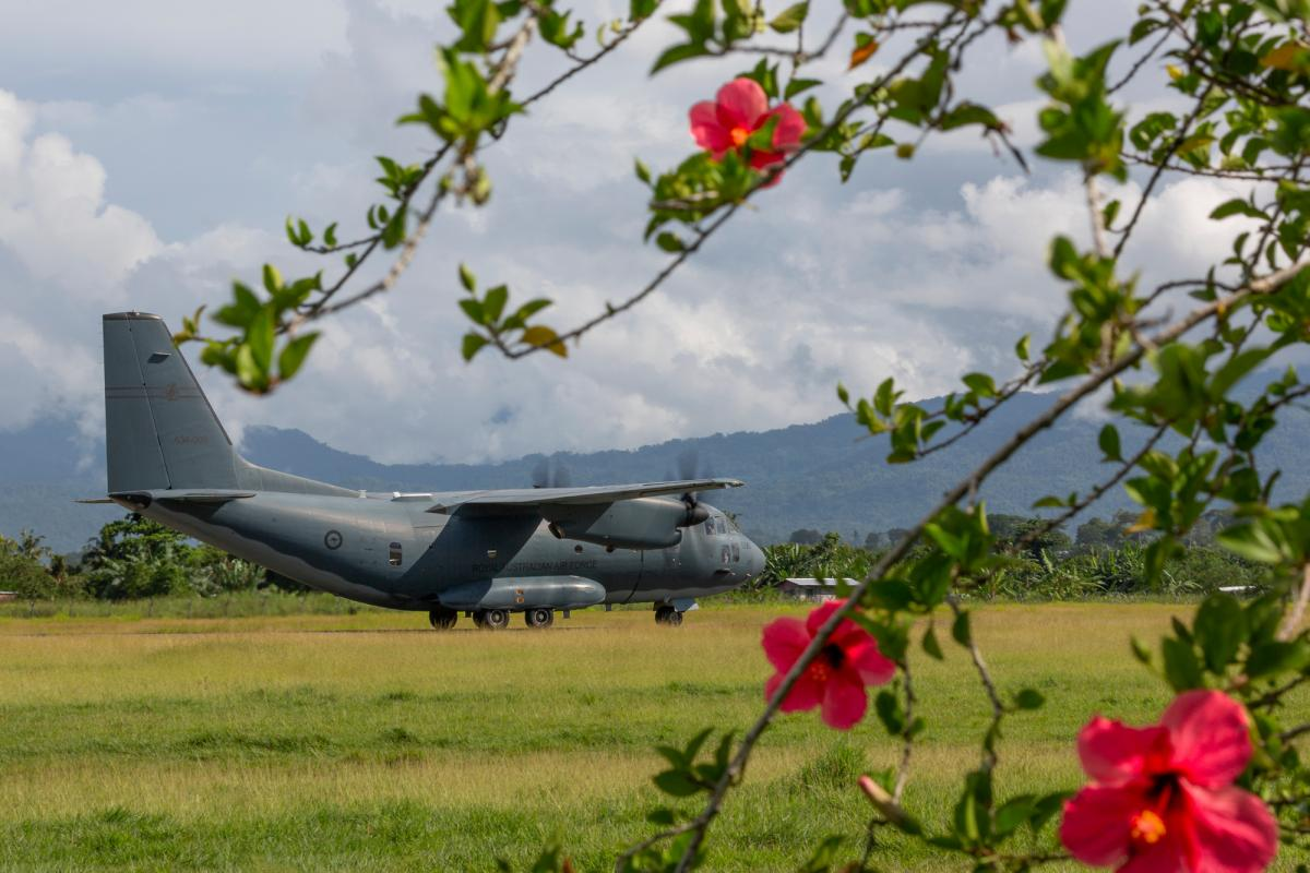 An Air Force C-27J Spartan lands at Honiara Airport, Solomon Islands, during Operation Solania. Photo: Sergeant Christopher Dickson