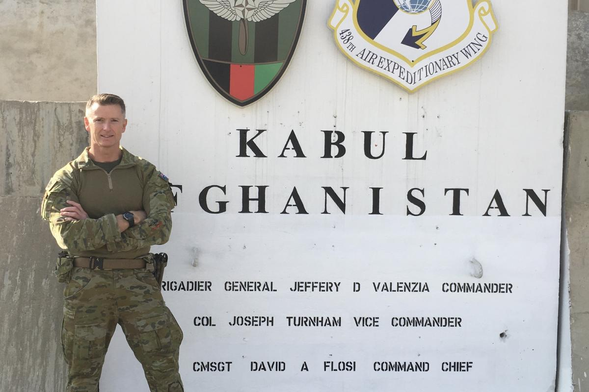 Warrant Officer Scott Biddell at forward operating base Oqab on his last deployment in 2019 as an Air Adviser, embedded in the 440th Air Expeditionary Advisory Squadron as the Rotary Wing Maintenance Operations Officer.