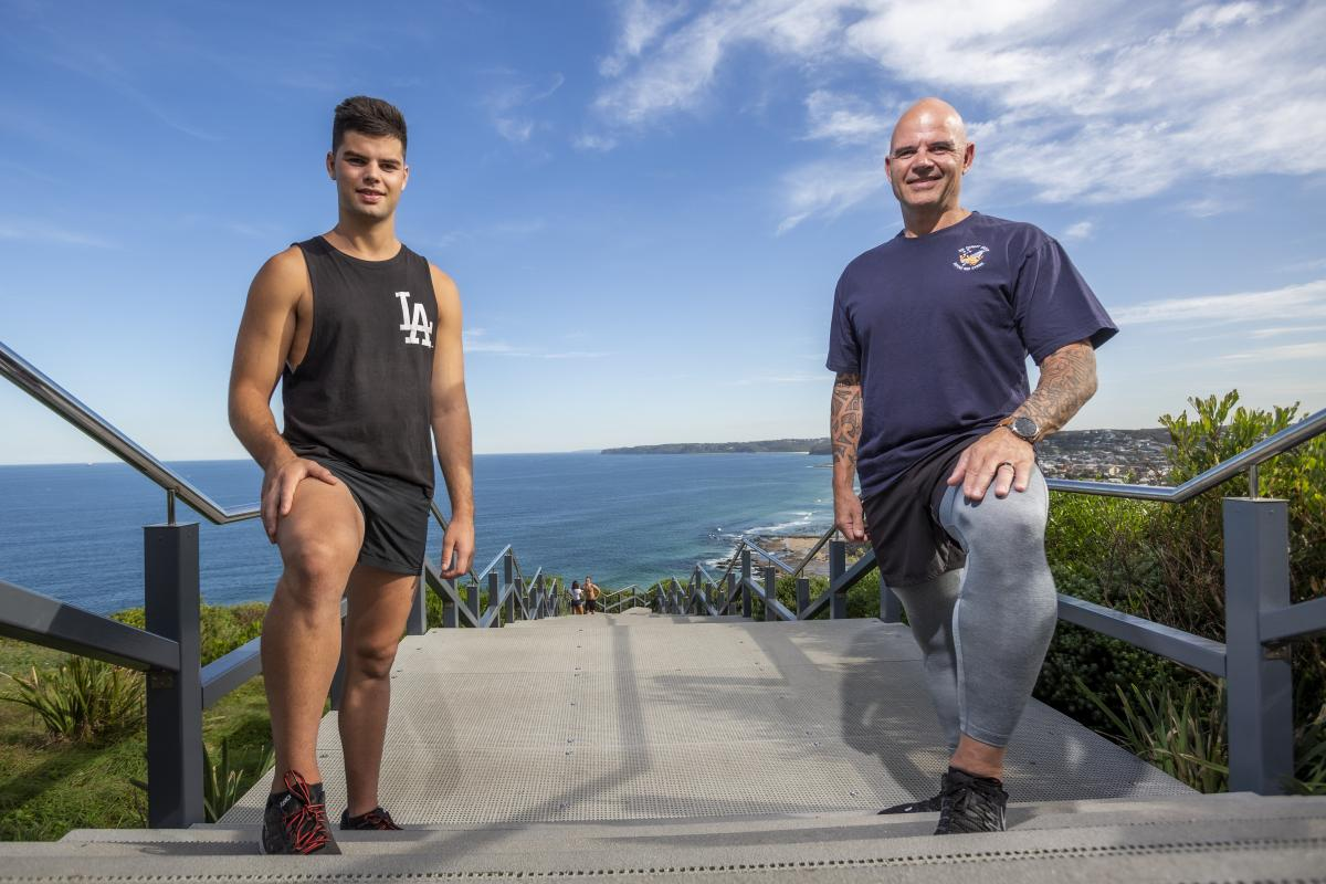Warrant Officer Rudi Vitasz and his son Brady are preparing to run up and down the Anzac Memorial Walk stairs 105 times to mark 105 years since the landings at Gallipolli. Photo: Corporal Craig Barrett