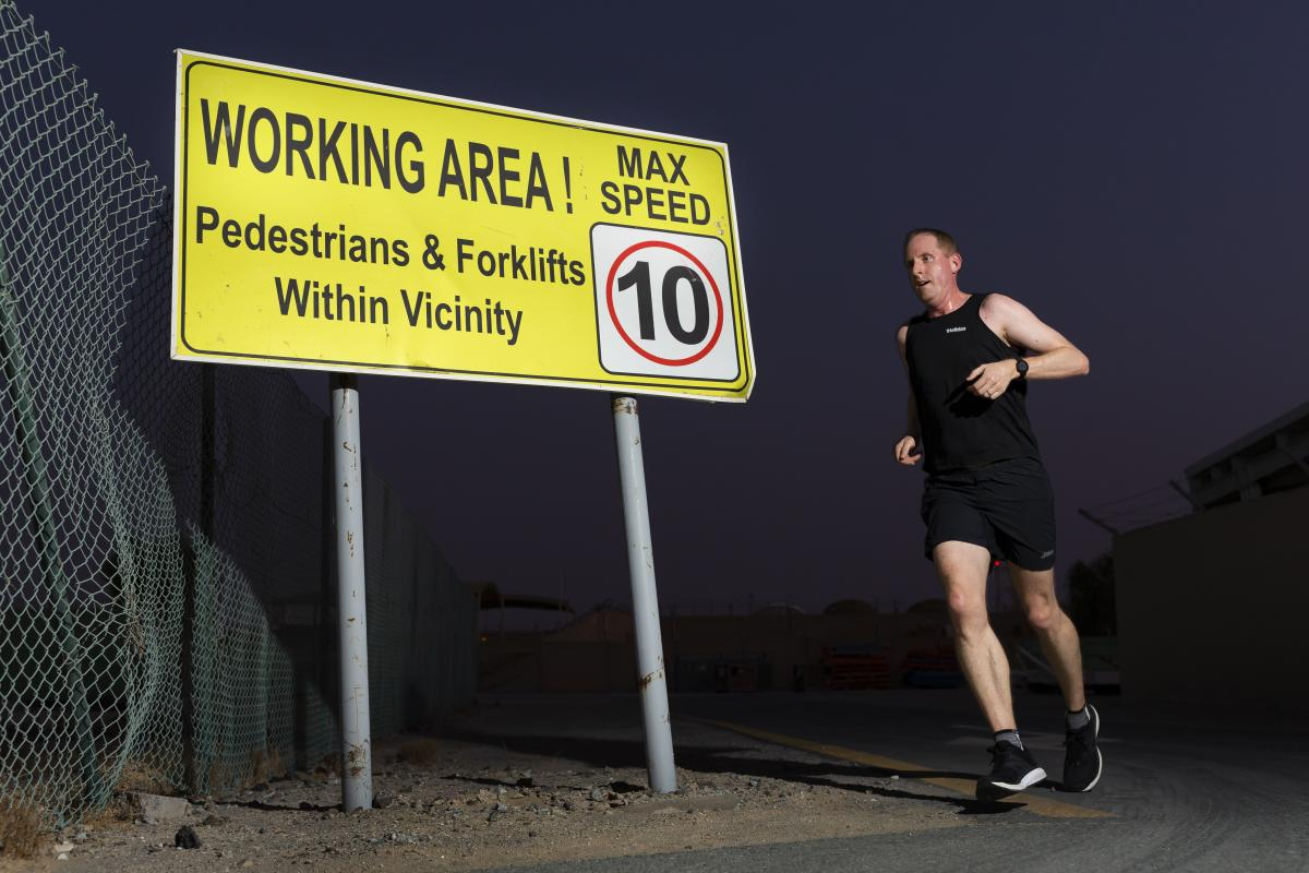 Executive Officer for Air Task Group Squadron Leader Andrew Fisher ran 27km. Photo: Corporal Tristan Kennedy