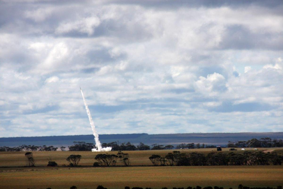 The launch of a DART rocket carrying a RAAF payload from Koonibba Rocket Range in South Australia. Photo: Sean Jorgensen-Day