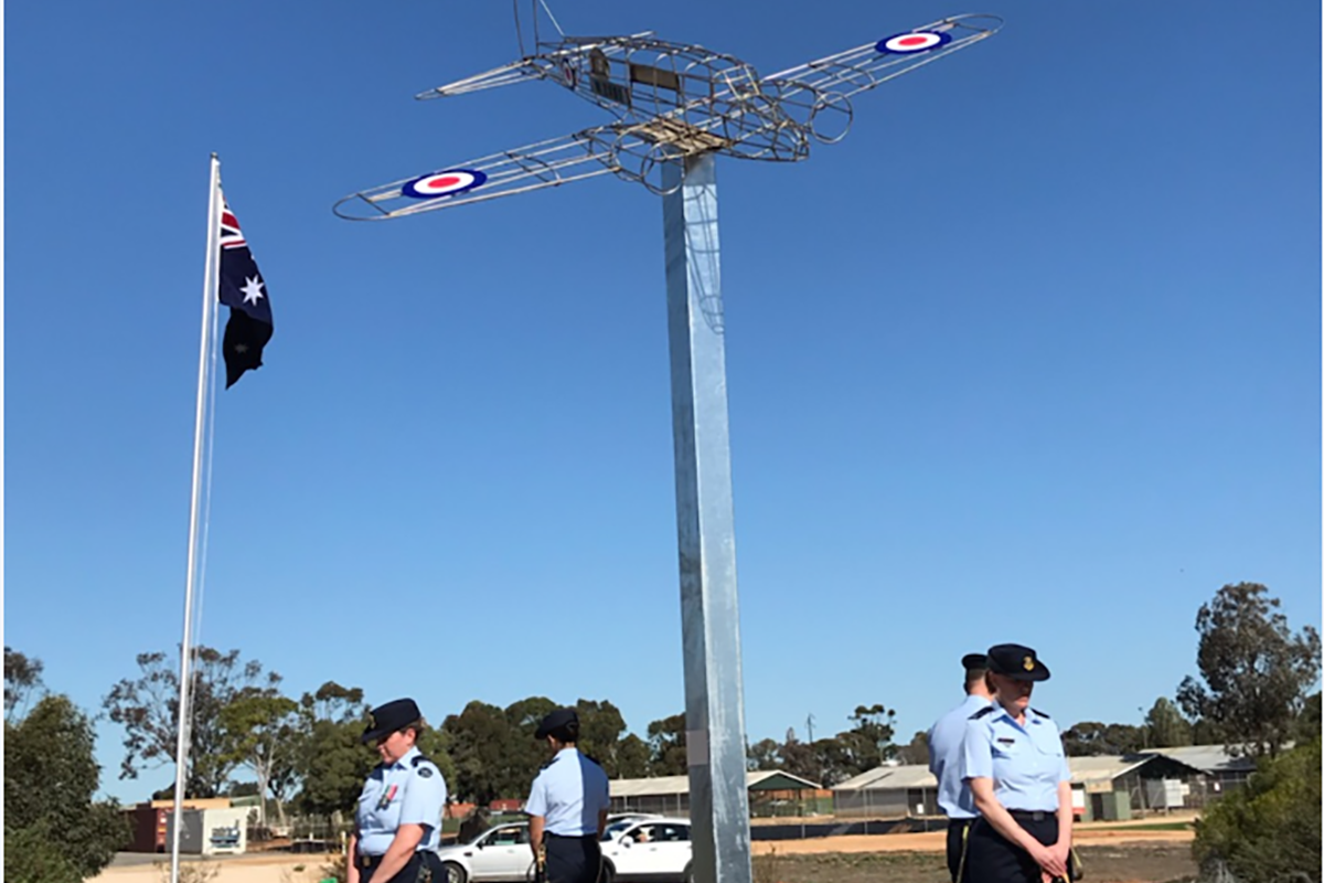RAAF members from No. 24 Squadron form a catafalque party at the Avro Anson Memorial in Loxton, South Australia.