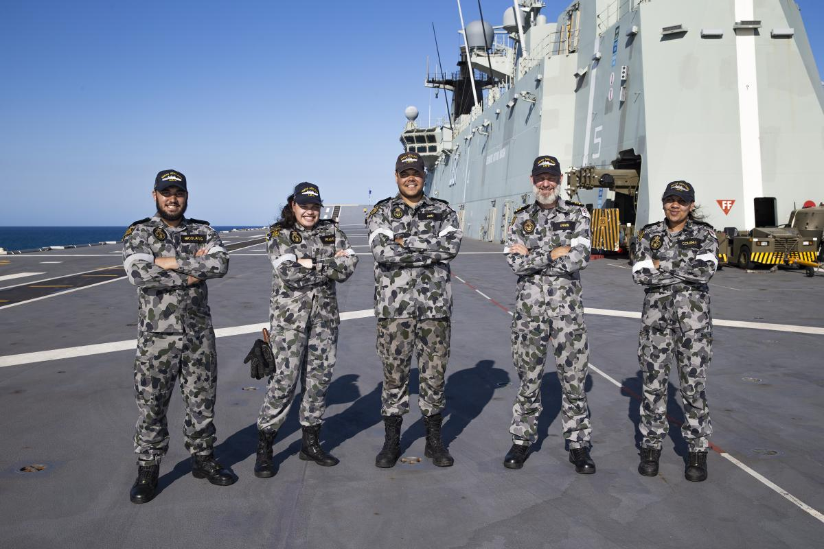 Able Seaman William Nicolaidis, left, Able Seaman Teneille Francis, Able Seaman Hudson Anu, Lieutenant Commander Richard Unwin, and Leading Seaman Kaylin Coleman on the flight deck of HMAS Adelaide during Exercise Sea Wader 2020 off the Queensland coast.