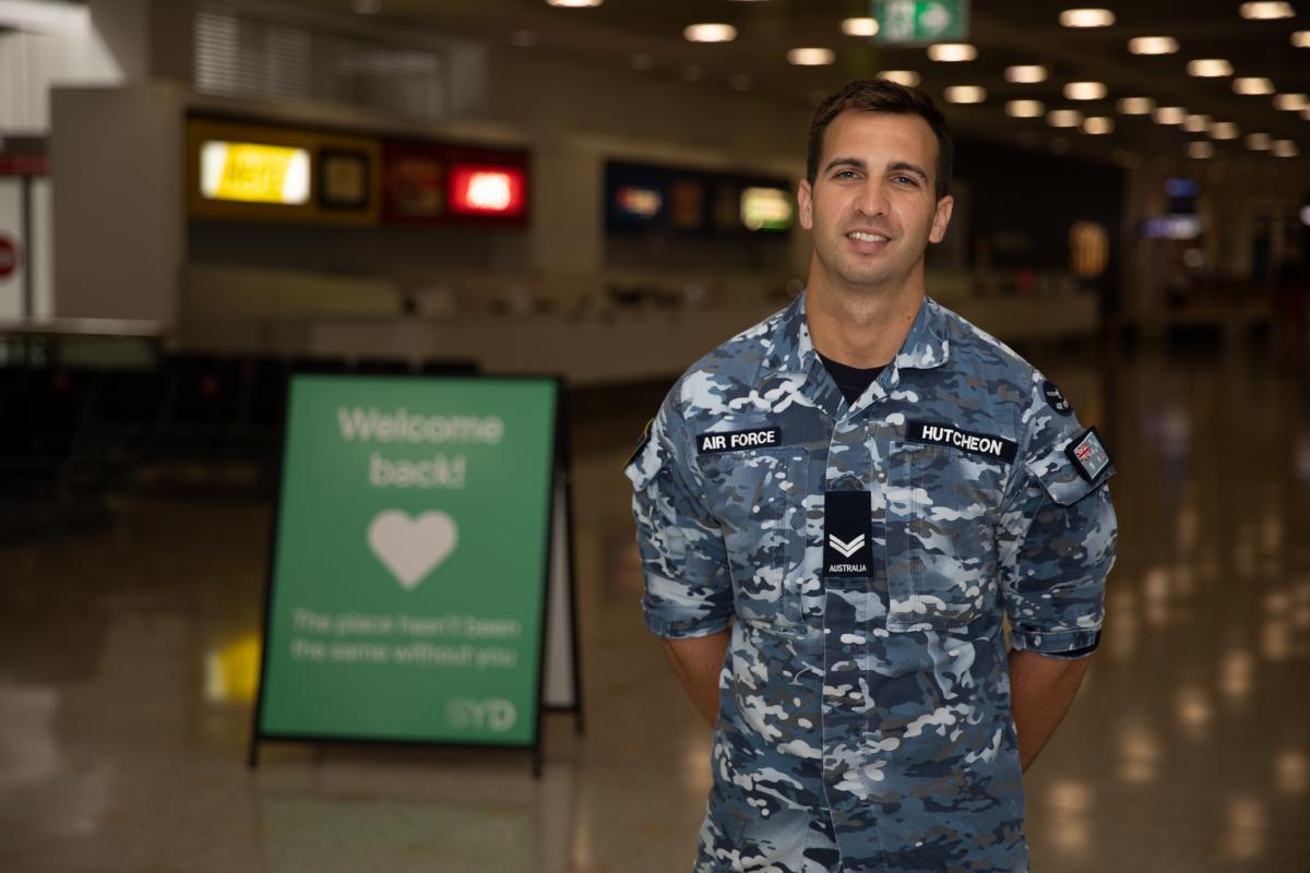 Corporal Jacob Hutcheon on Operation COVID-19 Assist at Sydney Airport. Photo: Able Seaman Mori Hernandez