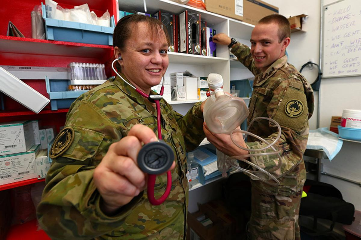 20171024adf8443968_069  Royal Australian Navy Chief Petty Officer Sarah Hall and US Air Force medical logistics Staff Sergeant Matthew Ulrichs in a medical centre at Bagram Airfield, Afghanistan.