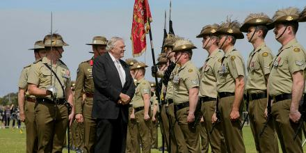 Governor of Western Australia Kim Beazleyinspects the parade held to re-raise the 10th Light Horse Regiment in Western Australia. Photo: Sergeant Gary Dixon