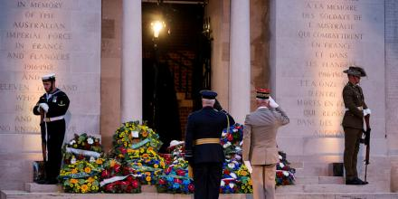 Members of the catafalque party rest on their arms at the foot of the Australian National Memorial at the Villers-Bretonneux War Cemetery during the 2018 Anzac Day Dawn Service in France. Photo: Leading Seaman Jake Badior.