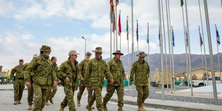 Commander Task Group Afghanistan, Brigadier Jane Spalding, Commander Joint Task Force 633, Air Vice Marshall Joe Iervasi, Chief of the Australian Army, Lieutenant General Rick Burr, and Regimental Sergeant Major - Army, Warrant Office