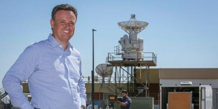 Dr Joe Fabrizio, a senior electrical engineer with the Defence Science and Technology Group, with the experimental phased array radar being developed at RAAF Base Edinburgh. Photo: Corporal Brenton Kwaterski