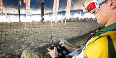 A member of the Army Drone Racing Team competes in a drone time trial competition held at the 2019 Australian International Airshow at Avalon airport, Victoria.