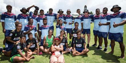 The ADF and Australian National Rugby League coaching group together with participants from the Republic of Fiji Military Forces and Fiji rugby league during the ADF Rugby League tour to Fiji.