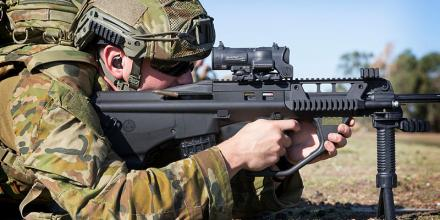 An Australian Army soldier during the Applied Marksmanship Practice as part of the Australian Army Skill at Arms Meeting at Puckapunyal, Victoria, on 19 March 2019.