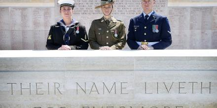 Able Seaman Boatswains Mate Amanda May, Private Hannah Bailey and Leading Aircraftman Vincent Lipscombe stand at the the Lone Pine memorial, Turkey.