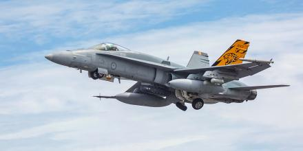 A RAAF F/A-18A Hornet launches for a sortie out of RAAF Base Darwin during Exercise Diamond Storm.