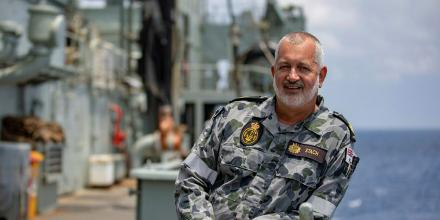 Senior marine technician Warrant Officer Werner Stach stands on the upper decks of HMAS Success during the ship's final deployment on Indo-Pacific Endeavour 2019. Photo: Leading Seaman Christopher Szumlanski