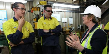 The Minister for Defence, Linda Reynolds, right, speaks to workers from the Australian Submarine Corporation at the Osborne Naval Precinct in South Australia. Photo: Sergeant Max Bree