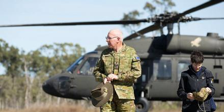 The Governor-General and Mrs Linda Hurley visit personnel taking part in Exercise Talisman Sabre 2019. Photo: Chief Petty Officer Paul Berry