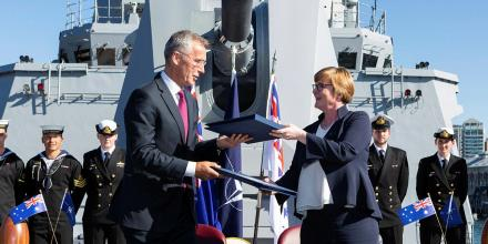 NATO Secretary General Jens Stoltenberg and the Minister for Defence, Linda Reynolds.