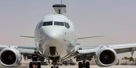 A Royal Australian Air Force E-7A Wedgetail arrives at the Australian Defence Force's main operating base in the Middle East region. Photo: Corporal Dan Pinhorn