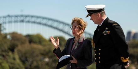 The Governor of New South Wales, Her Excellency Margaret Beazley, left, with the Commander Australian Fleet, Rear Admiral Jonathan Mead onboard HMAS Canberra. Photo: Able Seaman Jarrod Mulvihill