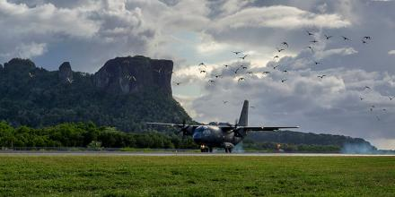 A Royal Australian Air Force C-27J Spartan from No. 35 Squadron lands at Pohnpei International Airport, Federated States of Micronesia, during Operation Solania. Photo: Gunner Sagi Biderman