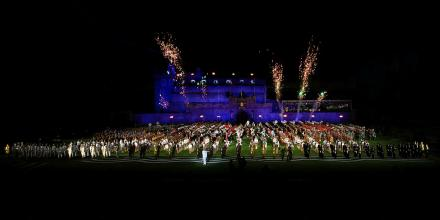 Members of the Royal Edinburgh Military Tattoo perform at ANZ Stadium, Sydney. Photo: Leading Seaman Ernesto Sanchez