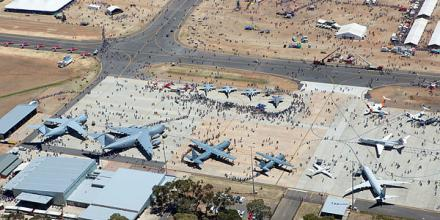 An aerial view of the displays on show at the RAAF Base Edinburgh Air Show. Photo: Sergeant Guy Young