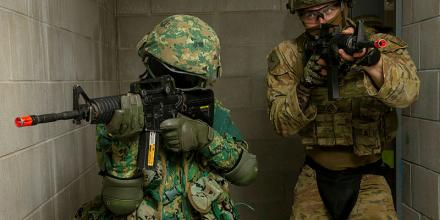 Lance Corporal Taibe Lane, right, of Bravo Company 6th Battalion, Royal Australian Regiment, and a soldier from the Royal Brunei Land Forces, conduct room clearances during Exercise Mallee Bull. Photo: Private Nicole Dorrett