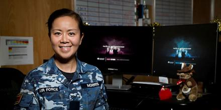Royal Australian Air Force officer, Flight Lieutenant Rachel Morris, in the Air Task Group orderly room at the main Australian Defence Force operating base in the Middle East Region. Photo: Leading Seaman Craig Walton