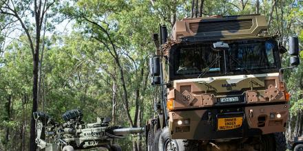 A MAN HX77 truck tows a M777A1 155mm Howitzer during a Gun Tow Drivers Course run by soldiers from the 1st Regiment, Royal Australian Artillery at Gallipoli Barracks, Brisbane. Photo: Trooper Jonathan Goedhart