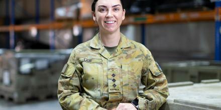 Captain Jess Law in the warehouse of the ADF's main operating base in the Middle East region. Photo: Corporal Tristan Kennedy