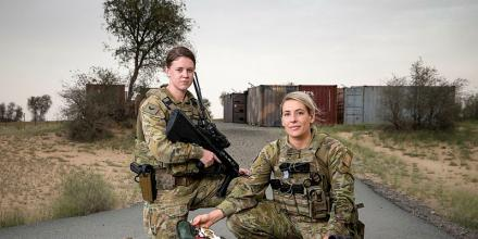 Task Group Taji 10 medics Corporal Ashlee Liversedge, left, and Corporal Sarah Nixon in the Middle East. Photo: Leading Seaman Craig Walton
