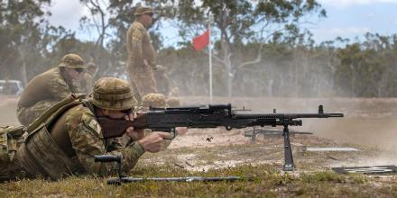 A soldier from the 1st Regiment, Royal Australian Artillery, fires a MAG 58 General Support Machine Gun during live fire training at Wide Bay Training Area, Queensland. Photo: Corporal Nicole Dorrett