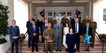 Corporal Gealan Toullea, front left, with Her Excellency Linda Hurley, front right, and guests at Government House in Canberra. Photo: Corporal Julia Whitwell
