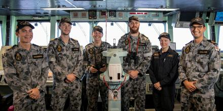 Officers of the watch in HMAS Anzac have completed their first multinational exercises.