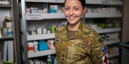 Lieutenant Amanda Dreger in the dispensary at the ADF's main operating base in the Middle East. Photo: Sergeant Glen McCarthy