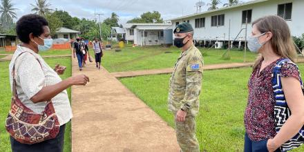 Dr Pommat provides a tour of the Daru hospital facility in PNG to members of the ADF and Department of Foreign Affairs and Trade.