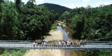 The finished product of the Warrant Officer Class 2 'Jack' Kirby suspension bridge in Tully, Far North Queensland. Photo:  Sapper S Miller