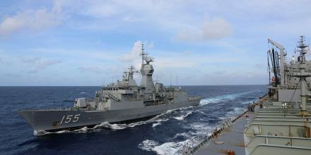 HMA Ships Ballarat and Sirius conduct a replenishment-at-sea in the Karimata Strait.