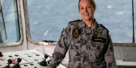 Petty Officer Hayley Barwell in the replenishment-at-sea control room on HMAS Sirius. Photo: Leading Seaman Thomas Sawtell