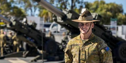 Gunner Cooper McCallum at Gallipoli Barracks Brisbane. Photo: Corporal Nicole Dorrett